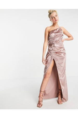 Little Mistress Vestido largo color asimétrico con abertura y diseño drapeado de satén de