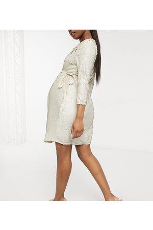 Little Mistress Mujer Vestidos - Vestido corto color cruzado de terciopelo y lentejuelas de -Blanco