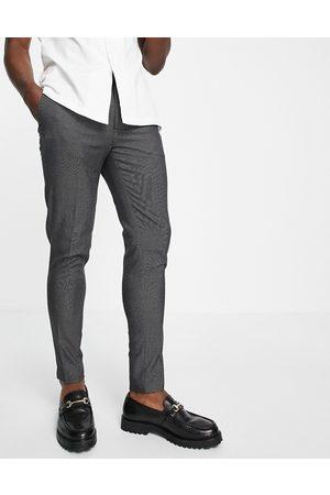 ASOS Pantalones de vestir grises punteados de corte pitillo de