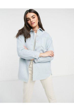 Helene Berman Sobrecamisa azul en tejido de mezcla de lana de