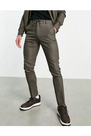 ASOS Joggers de vestir a cuadros marrones pequeños de corte pitillo de (parte de un conjunto)