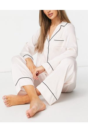 ASOS Pijama de camisa de manga de manga larga y pantalones de satén de -Blanco