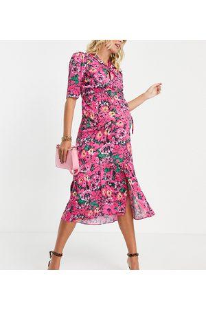 HOPE & IVY Vestido midi luminoso con mangas abullonadas y estampado floral de