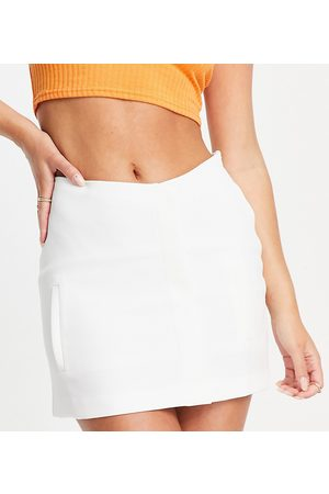 AsYou Minifalda color de talle alto de -Blanco