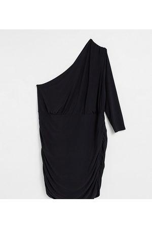 Club L London Plus Vestido corto fruncido asimétrico de