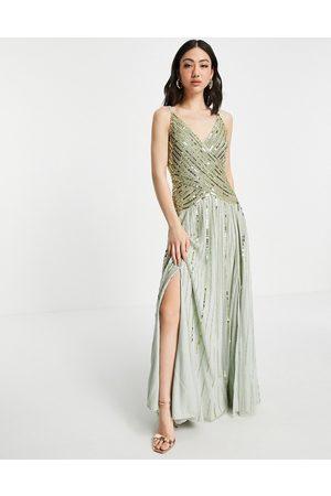 ASOS Vestido largo con falda transparente con adornos lineales de