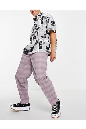ASOS Pantalones de vestir a cuadros lilas de corte tapered extragrande de lino de -Violeta