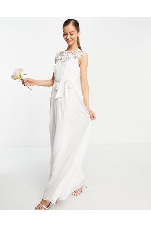 Little Mistress Vestido de novia largo color con detalle de encaje de -Blanco
