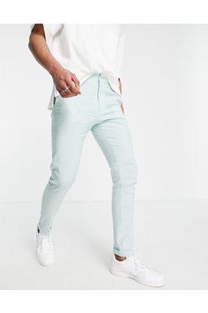 ASOS Pantalones pitillo de vestir a rayas color menta y azules de
