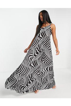 ASOS Vestido largo plisado asimétrico con estampado de cebra y tirante elástico fruncido de