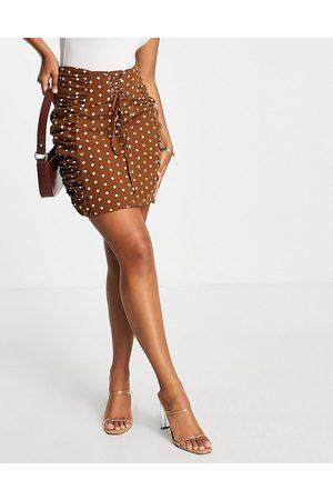 Rare Fashion Minifalda marrón de lunares con detalle de cordón de London (parte de un conjunto)