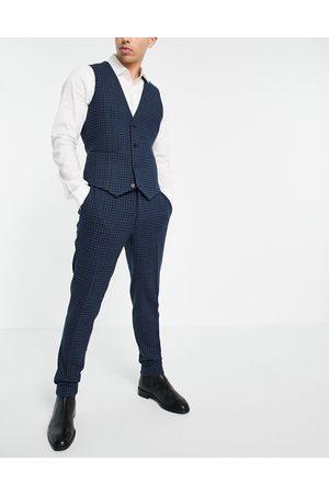 ASOS Hombre Pantalones de traje - Pantalones de traje muy entallados a cuadros tipo cuadrícula de mezcla de lana de