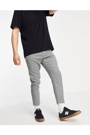 ASOS Pantalones de traje capri con estampado de cuadros de corte tapered de