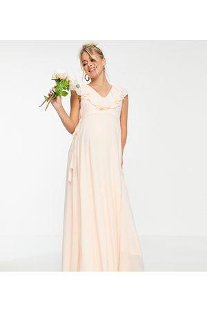 TFNC Vestido de dama de honor largo color cruzado de -Blanco
