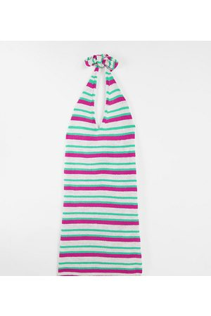 ASOS Mujer De punto - Vestido corto a rayas de varios colores con cuello halter de punto de ASOS DESIGN Maternity