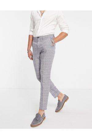 SELECTED Pantalones de traje azules de corte tapered slim de mezcla de lino de