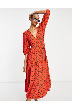 Glamorous Vestido midi de tarde rojo con estampado floral de