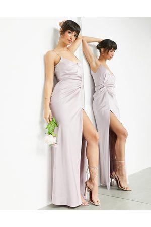 ASOS Vestido largo de tirantes con detalle drapeado de satén de -Violeta