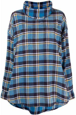 R13 Mujer Tops - Top a cuadros estilo camisa