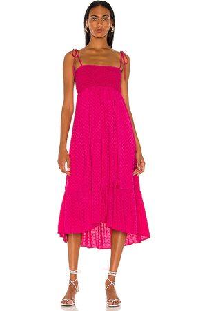 MAJORELLE Vestido midi nola en color fucsia talla L en - Fuchsia. Talla L (también en XXS, XS, S, M, XL).
