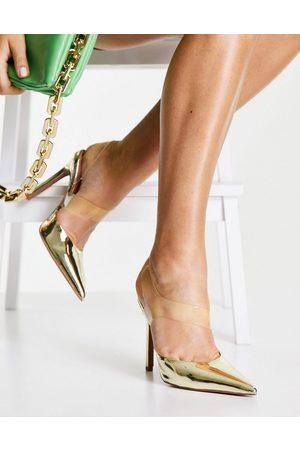 ASOS Zapatos dorados y transparentes de tacón alto Paola de