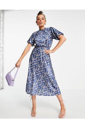 ASOS Vestido midi de tarde azul de manga corta con estampado floral de