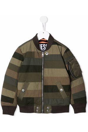 Diesel Bomber - Striped Patchwork bomber jacket