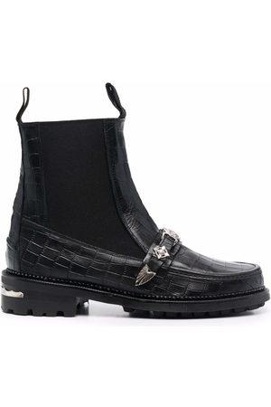 TOGA VIRILIS Crocodile embossed ankle boots