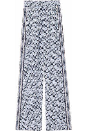 Burberry Mujer Pantalones de talle alto - Pantalones anchos con monograma