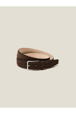 Luca Faloni Hombre Cinturones - Cinturón de Ante Oscuro