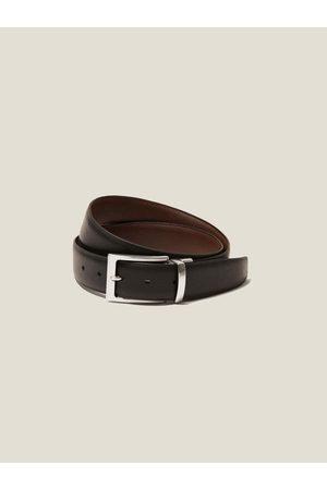 Luca Faloni Hombre Cinturones - Cinturón de Piel de Becerro Reversible y