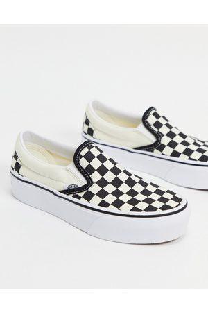 Vans Zapatillas a cuadros dameros blancos y negros con plataforma sin cierres de Classic