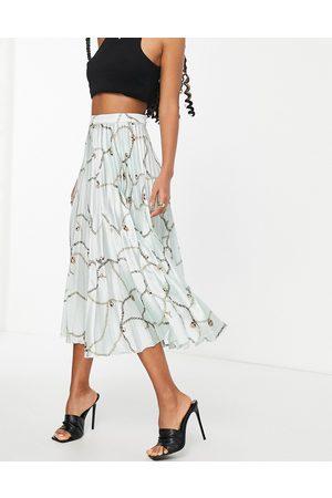 ASOS Falda midi plisada con estampado de cadenas de satén de