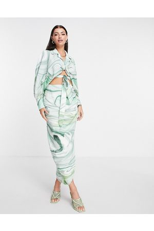 ASOS Mujer Estampadas - Falda midi con estampado marmoleado y lateral drapeado de lino de