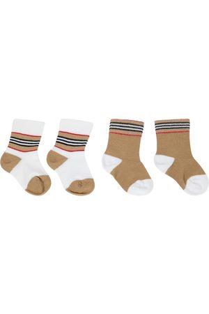 Burberry Bebé - set de 2 pares de calcetines en mezcla de algodón
