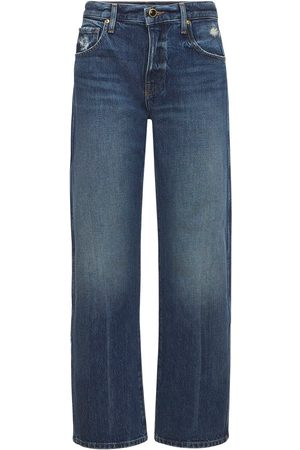 "Khaite   Mujer Jeans Rectos ""kerrie"" De Algodón 24"