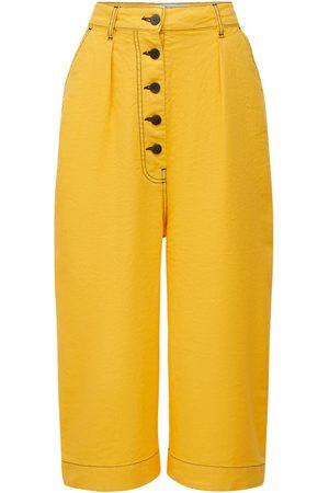 Loewe   Mujer Pantalones Cropped De Lona De Algodón Y Lino 32