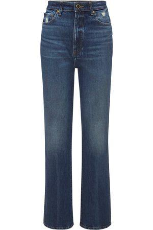 "Khaite   Mujer Jeans Rectos ""danielle"" De Denim Con Cintura Alta 24"