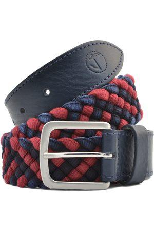 Seajure Cinturón Cinturón trenzado azul marino y rojo para hombre