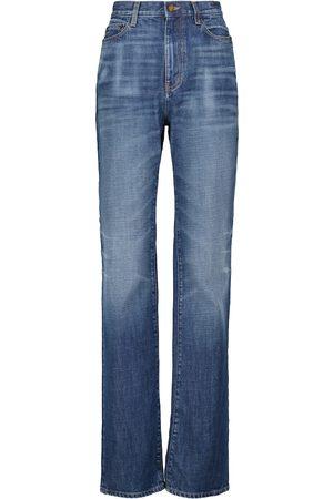Saint Laurent Jeans rectos de algodón de tiro alto