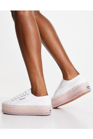 Superga Zapatillas de deporte blancas y rosas con plataforma plana de esparto Cotrope 2790 de -Blanco