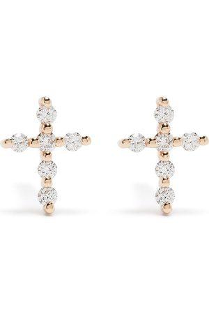 DJULA Pendientes Big Cross en oro de 18kt con diamantes