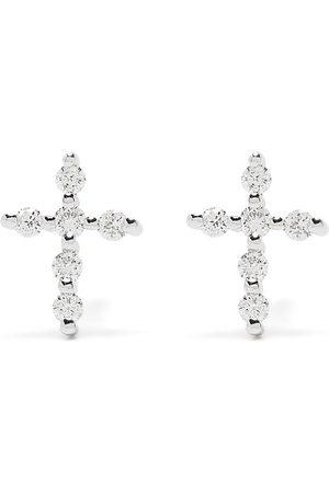 DJULA Pendientes Big Cross en oro blanco de 18kt con diamantes