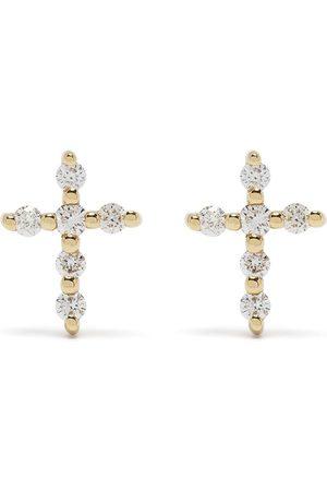 Djula Pendientes Big Cross en oro amarillo de 18kt con diamantes