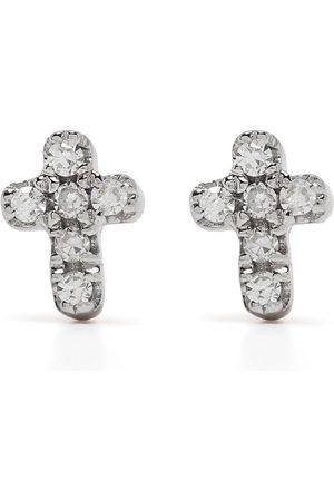 DJULA Pendientes Cross en oro de 18kt con diamantes