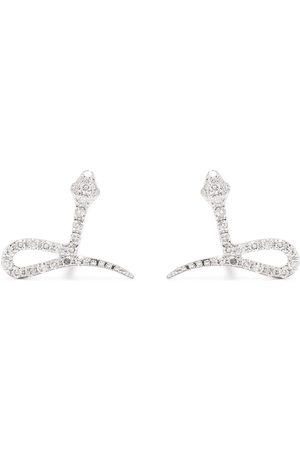 DJULA Pendientes Snake en oro blanco de 18kt con diamantes