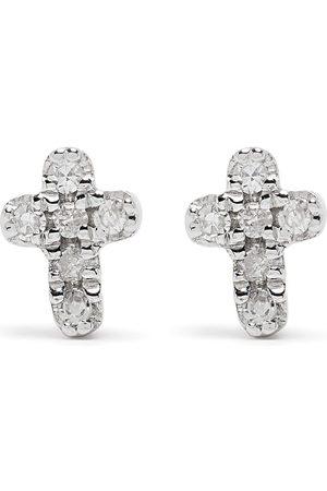 DJULA Hombre Pendientes - Pendientes Cross en oro blanco de 18kt con diamantes