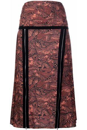 Kenzo Mujer Estampadas - Cheetah-print zip-detail skirt