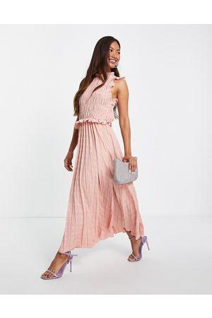 ASOS Mujer De noche - Vestido midi rosa pastel sin mangas con diseño plisado y fruncido y espalda al aire de