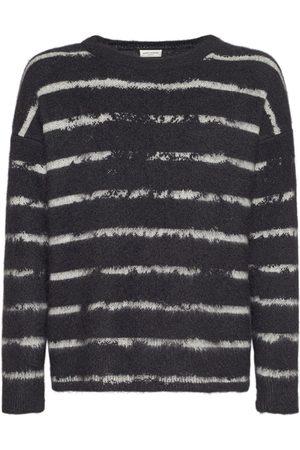 Saint Laurent Hombre Jerséis y suéteres - | Hombre Suéter De Mohair Con Rayas /blanco Xs